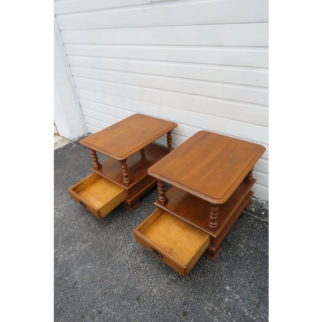 Ethan Allen Solid Maple Pair of Nightstands Side End Tables For Sale - Image 11 of 13