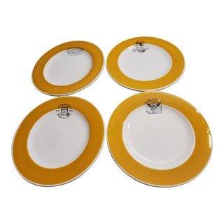 William Sonoma Earthenware Plates Decorated With Vintage Food Markers - Set of 4 For Sale