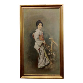 1920s Portrait of a Japanese Geisha Oil Painting on Canvas For Sale