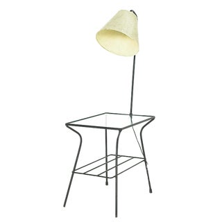 Mid Century Paul McCobb George Nelson Style Iron and Glass Lighted Side End Table Lamp For Sale