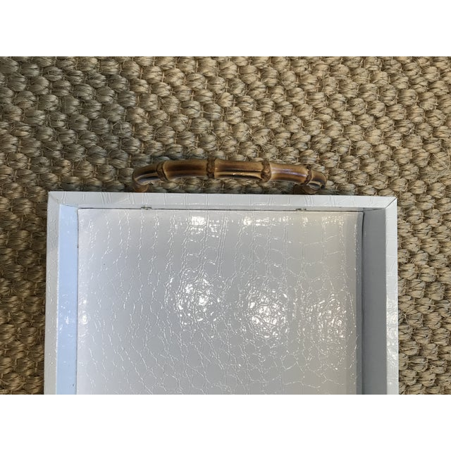 Small White Faux Leather Crocodile Texture Tray With Bamboo Handles For Sale - Image 4 of 6