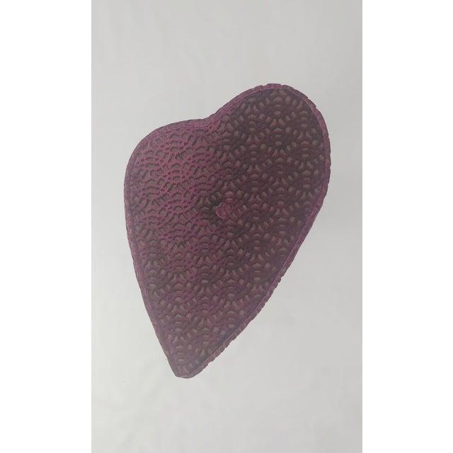 2020s Modern Aubergine Cut Velvet Heart Shape Vanity Chair For Sale - Image 5 of 7