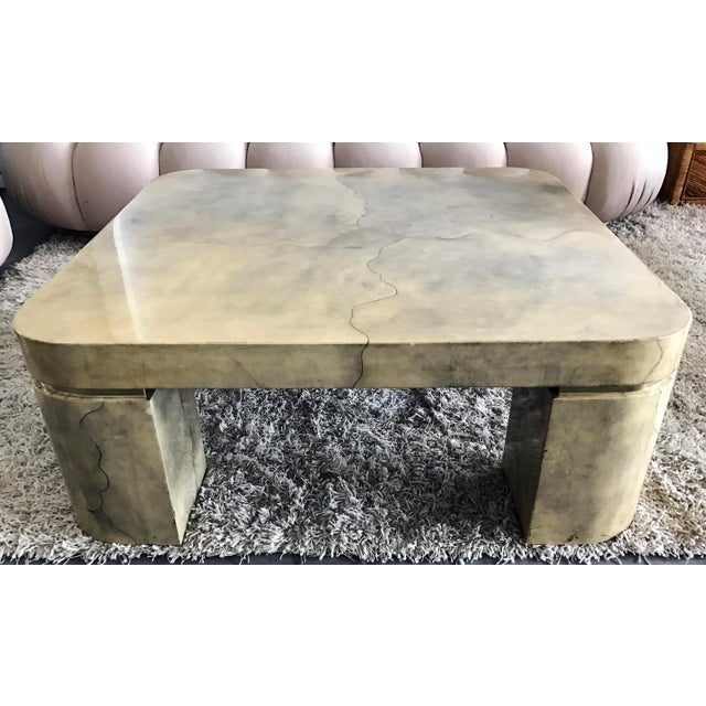 Karl Springer Style Lacquered Goatskin Coffee Table - Image 2 of 8