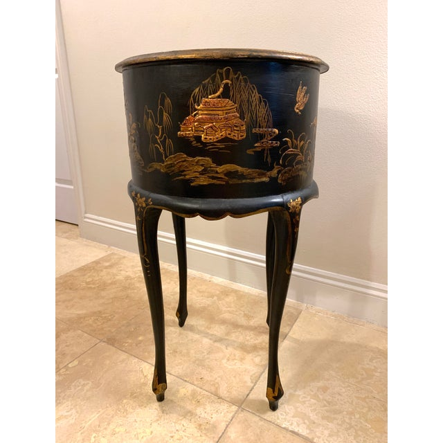 Black Vintage Chinoiserie Hand Painted and Gilt Pictorial Ebonized Two Drawer Side Table For Sale - Image 8 of 13