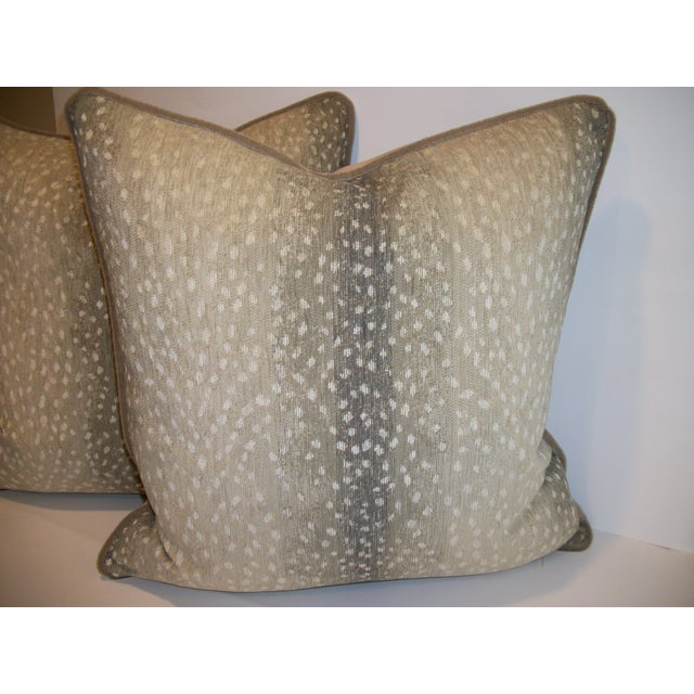 Woven Antelope Pillows with Mohair - A Pair - Image 5 of 5