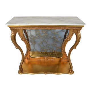 Gold Gilt Louis XV Style French Marble Top Console Table With Antiqued Mirror For Sale