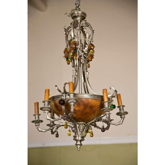 French Art Nouveau Style 8-Light Chandelier For Sale - Image 10 of 11