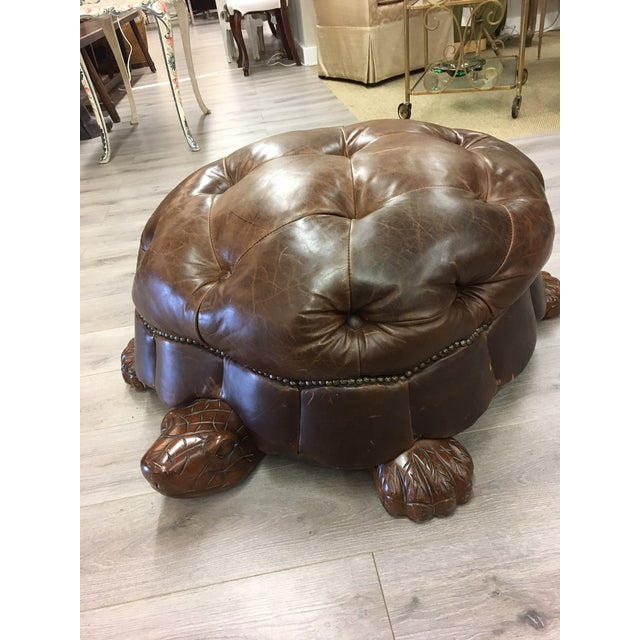 Brown Leather Tufted Turtle Ottoman For Sale - Image 4 of 6