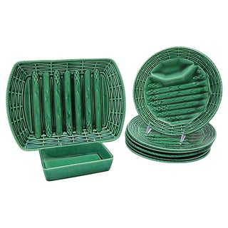 French Majolica Asparagus Set - 8 Pieces For Sale