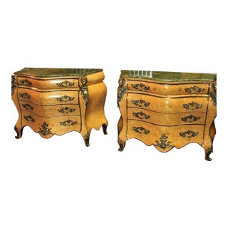 French Louis XV Style Bombe Commodes - Pair