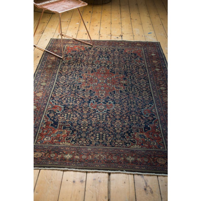 "Vintage Farahan Sarouk Rug - 4'3"" X 6'6"" For Sale - Image 10 of 11"