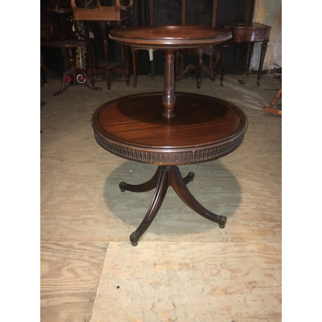 Vintage Leather Top 2 Tier Dumbwaiter Round Side Table - Image 4 of 10