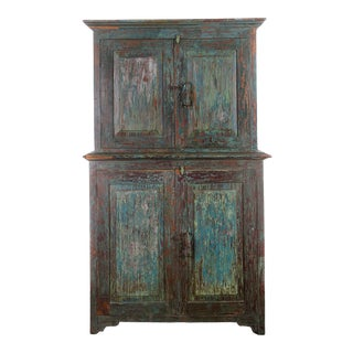 1900s Goan Indian Painted Cabinet For Sale