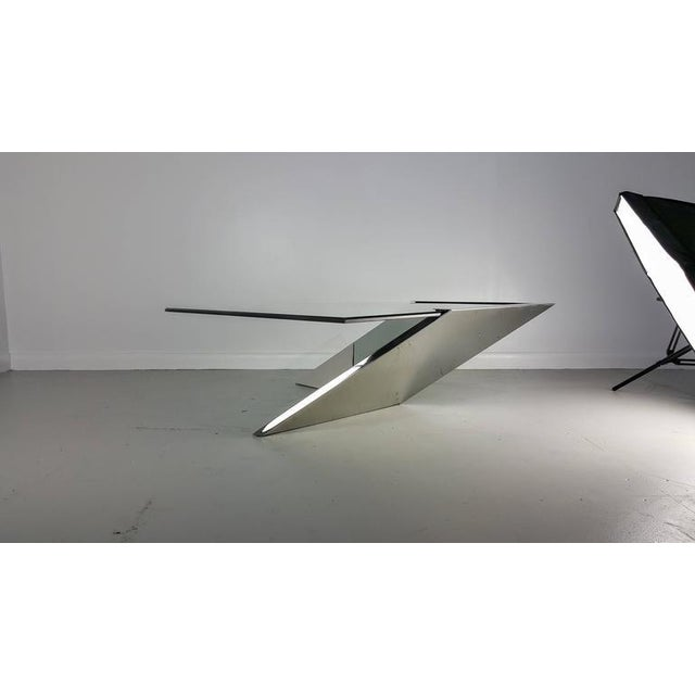 Contemporary Brueton J. Wade Beam Cantilevered Stainless Steel Coffee Table For Sale - Image 3 of 6