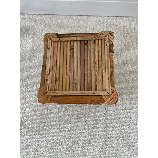 Mid-Century Modern Vintage Bamboo Rattan Plant Stand/Table Riser For Sale - Image 3 of 8