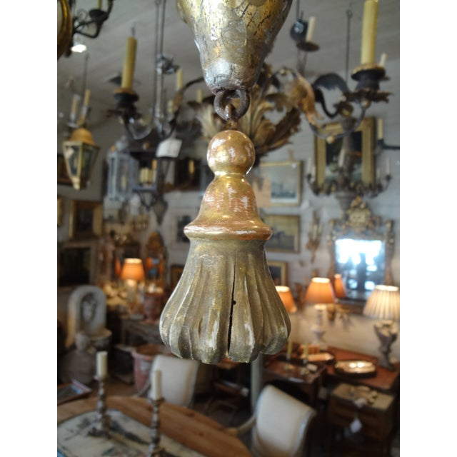 Red Italian 19th Century Gilt Wood Chandelier For Sale - Image 8 of 10