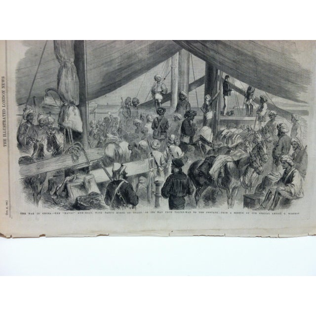 "English Traditional 1860 Antique Illustrated London News ""The War in China - the Havoc Gun-Boat"" Print For Sale - Image 3 of 5"