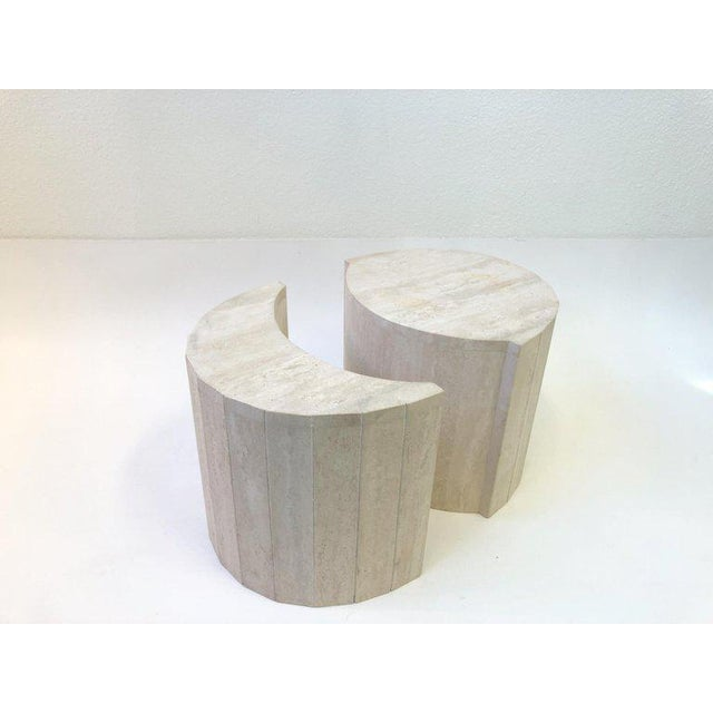 White Oval Italian Travertine Cocktail Table by Willy Rizzo For Sale - Image 8 of 11