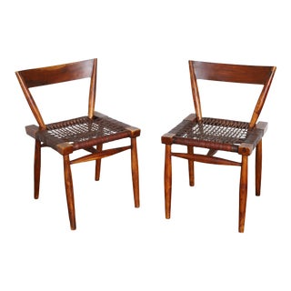 Vintage Woven Leather Side Chairs - a Pair For Sale