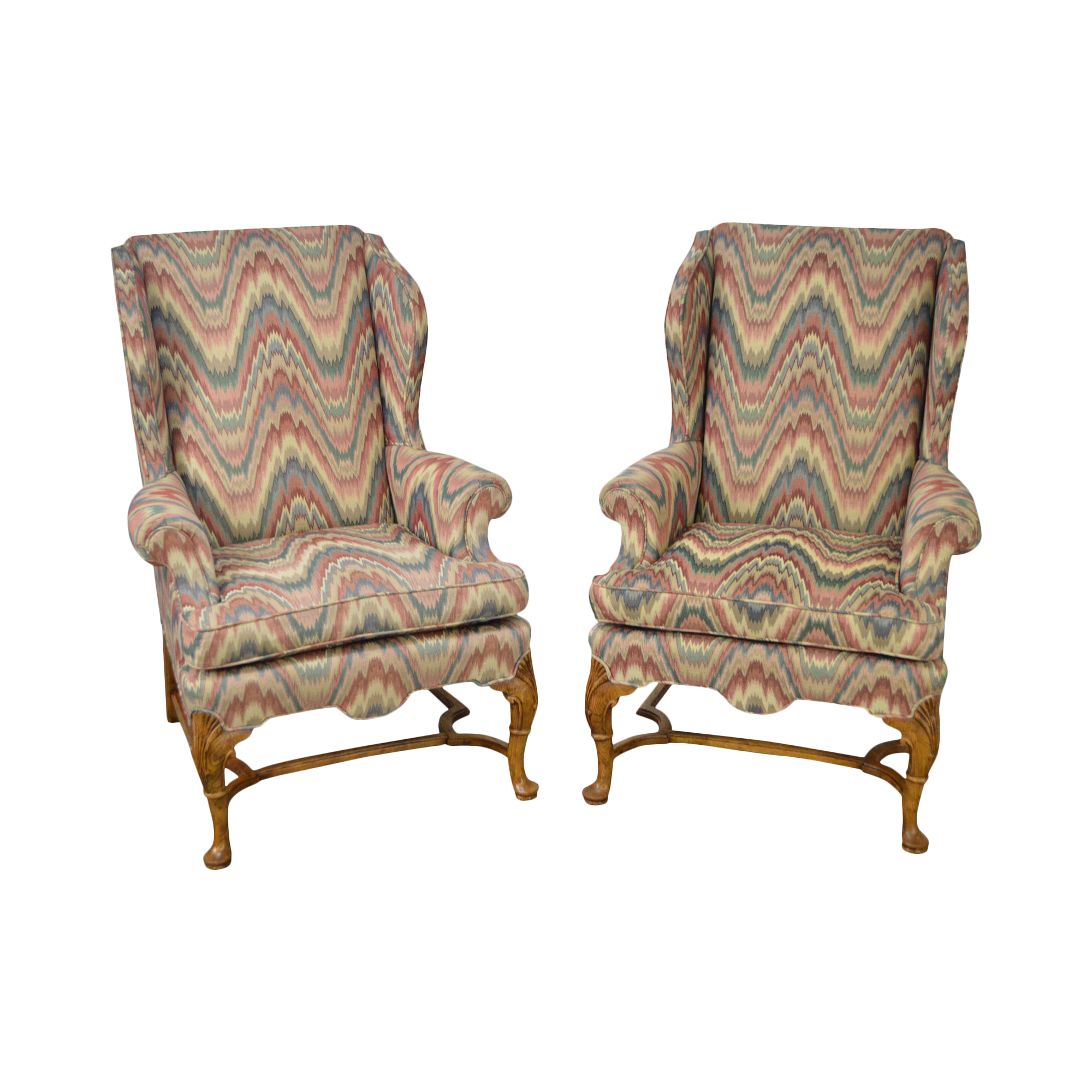 Baker Flame Stitch Queen Anne 18th Century Style Wing Chairs   A Pair
