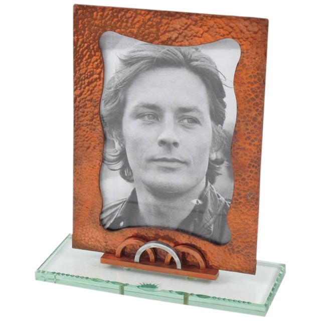 1940s French Copper and Glass Slab Geometric Picture Photo Frame For Sale