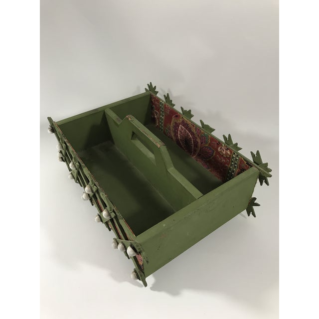 Mid 20th Century Painted Wood Tramp Art Box Caddy For Sale - Image 5 of 8