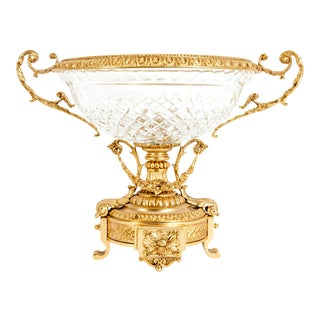 Footed Gilt Bronze Mounted Diamond Cut Crystal Centerpiece For Sale