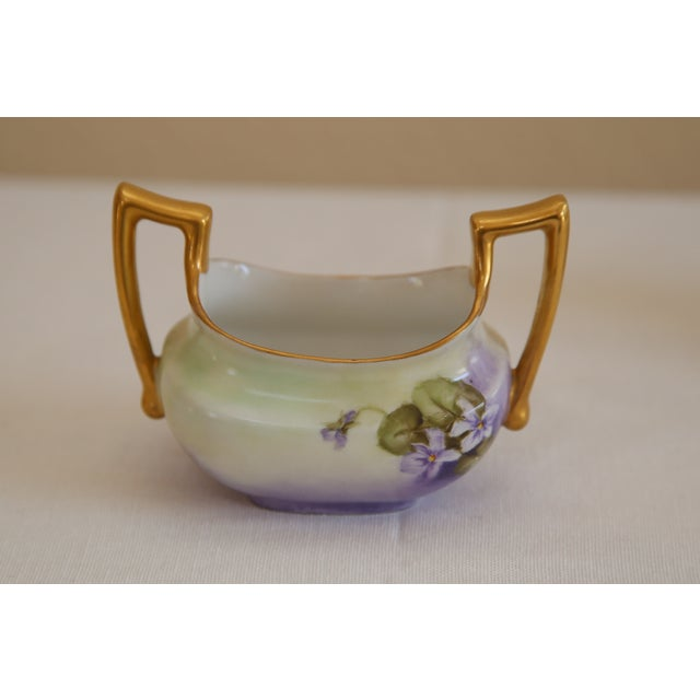 Limoges Hand-Painted Sugar & Creamer - Image 4 of 5