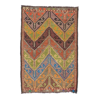 Small Vintage Turkish Embroidered Kilim Rug - 2′4″ × 3′5″ For Sale