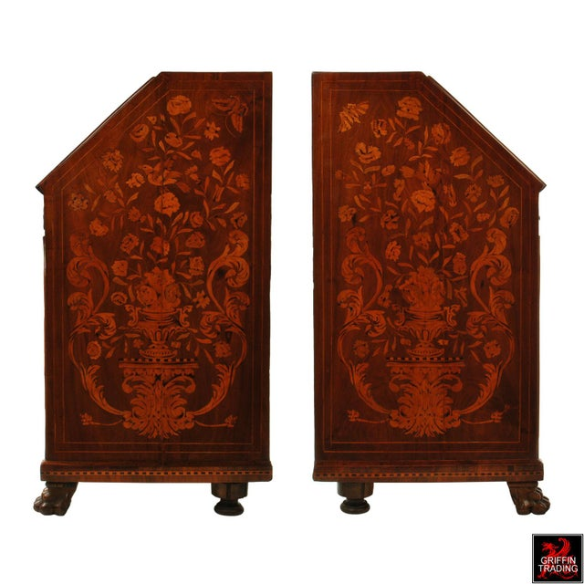 Fine Dutch Marquetry Drop Front Secretary / Desk For Sale - Image 4 of 13