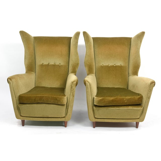 Large and Imposing Pair of Italian Modern Lounge Chairs in Gio Ponti Style For Sale - Image 10 of 11