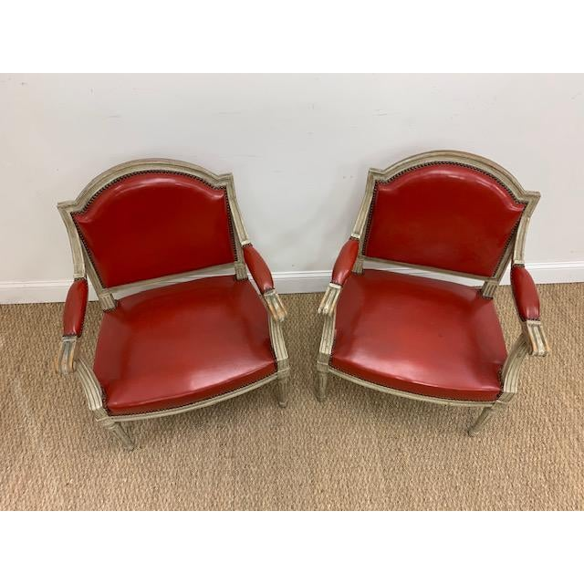 Late 19th - early 20th Century Fauteuils Style Chairs attributed to Maison Jansen. Generous proportions. Beautiful vintage...