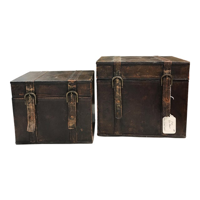 Vintage Leather Storage Boxes - A Pair For Sale
