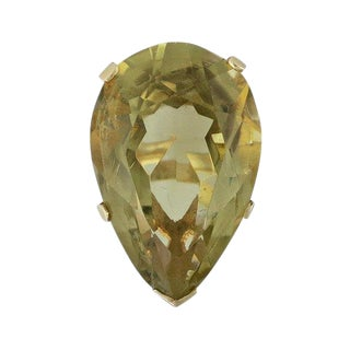 Vintage 14k Gold Pear Shaped Citrine Cocktail Ring For Sale