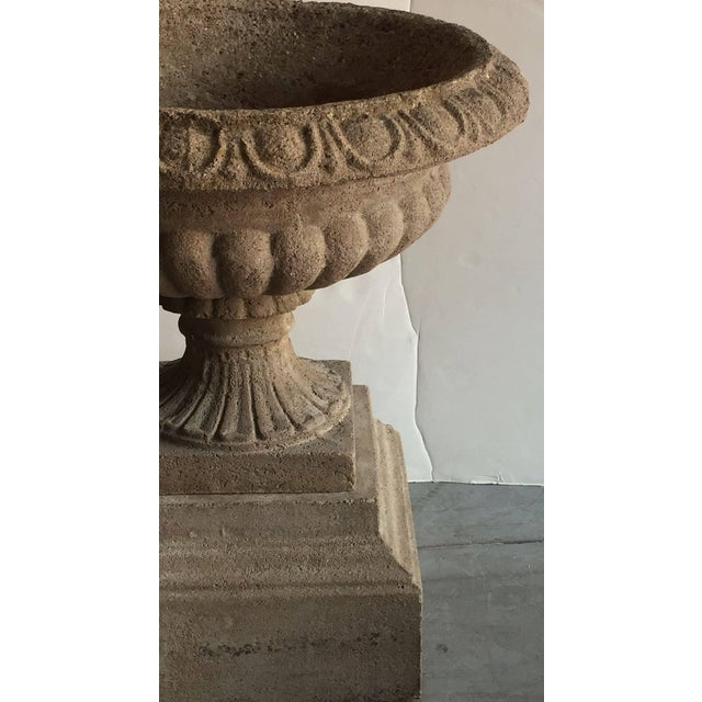 English Garden Stone Urns or Planters on Plinths - a Pair For Sale In Austin - Image 6 of 11