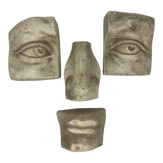 Plaster Face Cast of David Hanging Wall Decoration - 4 Pieces For Sale