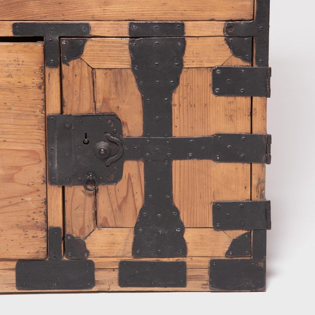Metal Early 20th Century Japanese Iron Bound Tansu For Sale - Image 7 of 11