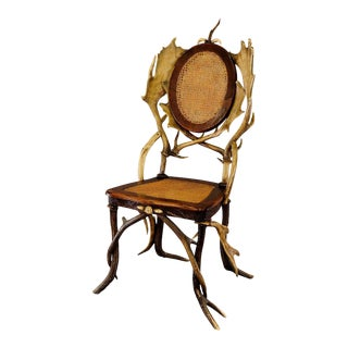 Antique Cabin Decor Antler Parlor Chair Ca. 1900 For Sale