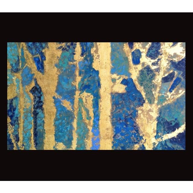Bryan Boomershine Aqua Gold Abstract Painting - Image 2 of 4