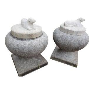 1990s Vintage Granite Urns- A Pair For Sale