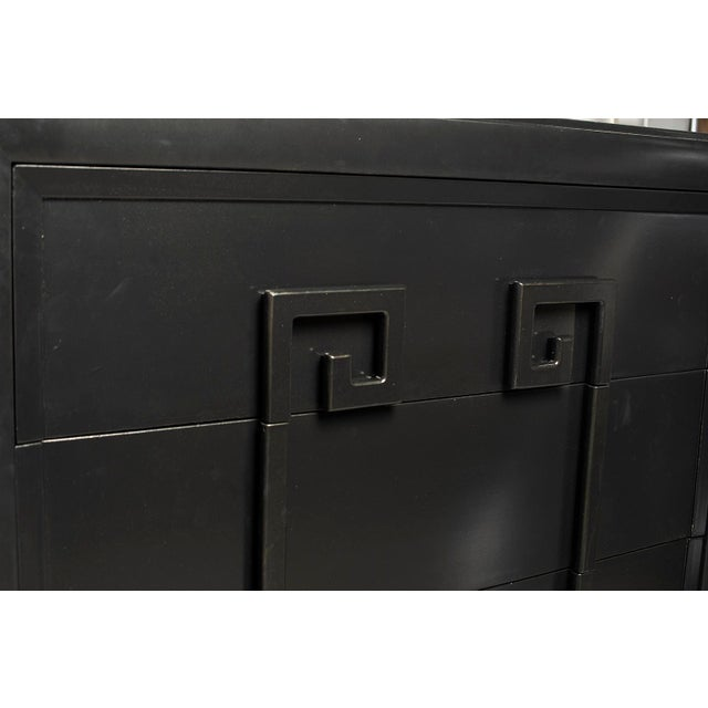 Tall Kittinger Satin Black Chest of Drawers With Greek Key Detail For Sale - Image 11 of 13