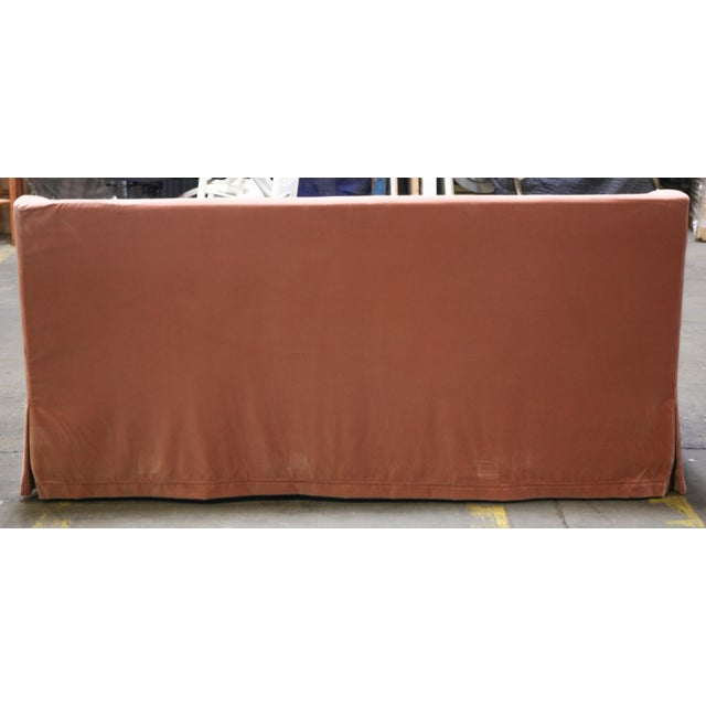 Christian Liaigre Modern Sofa in Pink Velvet with 4 Pillows For Sale In New York - Image 6 of 13