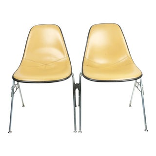 Cream Upholstered Eames Stacking Chairs for Herman Miller - a Pair For Sale
