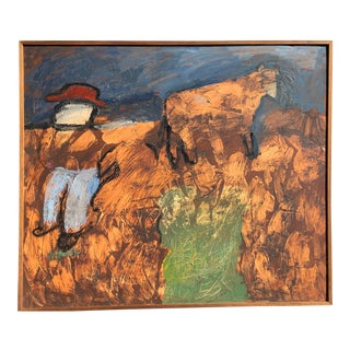 """""""The Cowboy"""" Mid Century Abstract Expressionist Female Artist For Sale"""