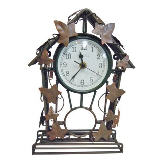 Bronze Tone Ingraham Mantle Clock For Sale