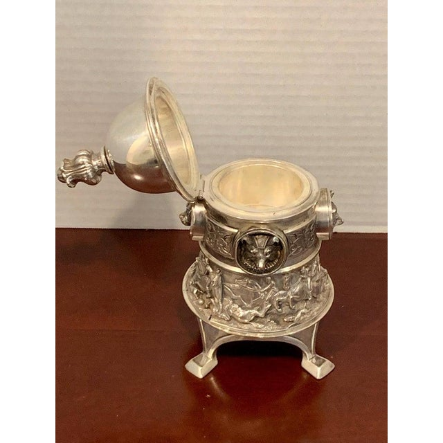 Antique English Silver Plated Equestrian Inkwell, With Dogs & Foxes For Sale - Image 9 of 13