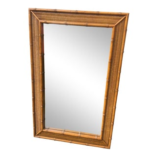 1970s Hollywood Regency Dixie Faux Bamboo Rattan Mirror