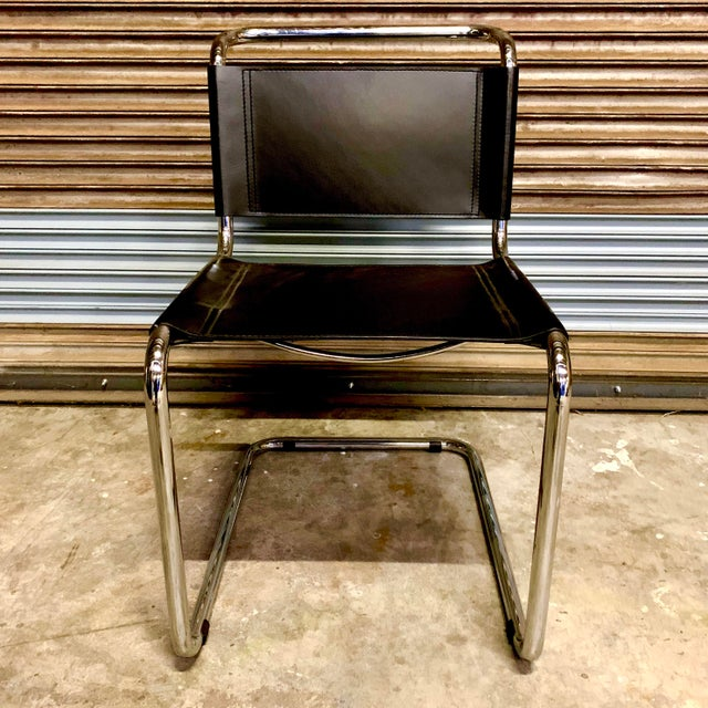 Mart Stam Vintage Mid Century Mart Stam Leather and Chrome Cantilever Chairs- A Pair For Sale - Image 4 of 13