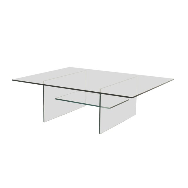 American Midcentury Glass Coffee Table For Sale