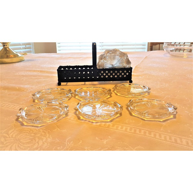 Mid-Century Cut Glass Coasters & Holder - Set of 12 - Image 2 of 5